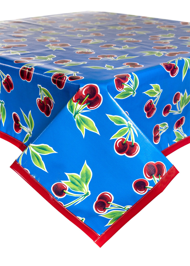 Cherry Blue Oilcloth Tablecloth with Solid Red Trim