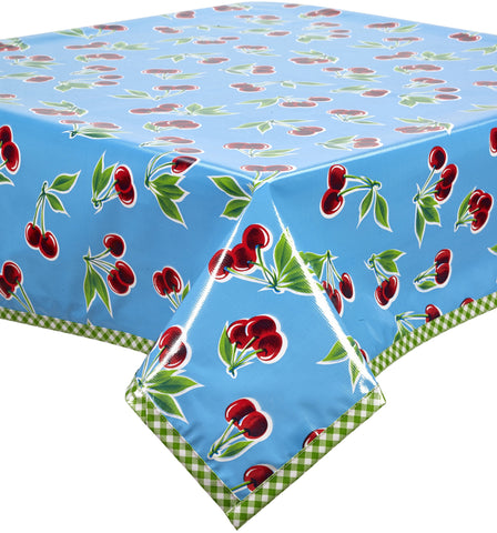 Freckled Sage Oilcloth Tablecloth Cherry Light Blue