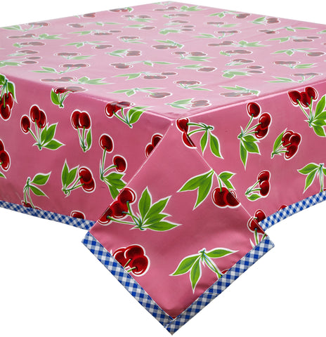 Freckled Sage Oilcloth Tablecloth Cherry Pink with Blue Trim