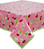 Freckled Sage Oilcloth Tablecloth Cherry Pink Lime Trim