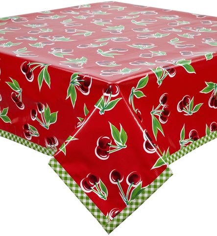Freckled Sage Oilcloth Tablecloth Cherry Red