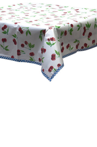Freckled Sage Oilcloth Tablecloth Cherry White