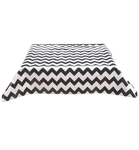 Freckled Sage Oilcloth Tablecloth Chevron Black