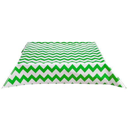 Chevron Green Oilcloth Tablecloth with Simple Hem
