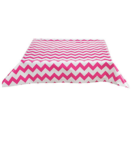 Freckled Sage Oilcloth Tablecloth Chevron Pink