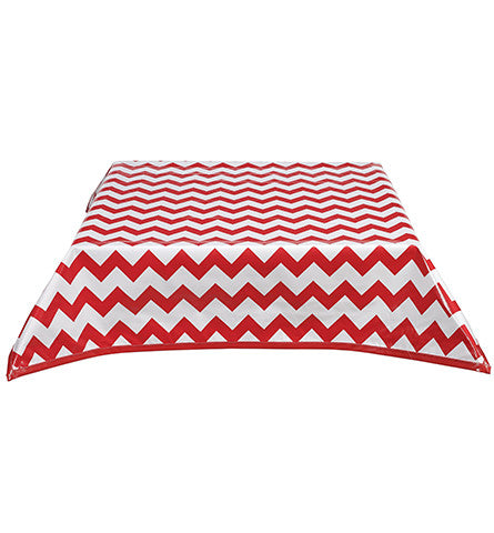 Chevron Red Oilcloth Tablecloth with Solid Red Trim