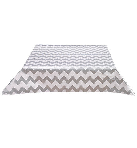 Freckled Sage Oilcloth Tablecloth Chevron Silver