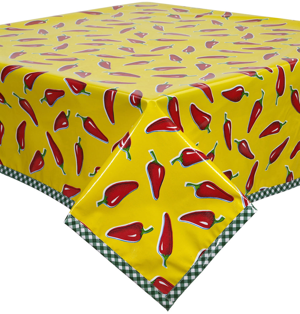 Freckled Sage Oilcloth Tablecloth Chili Peppers on Yellow