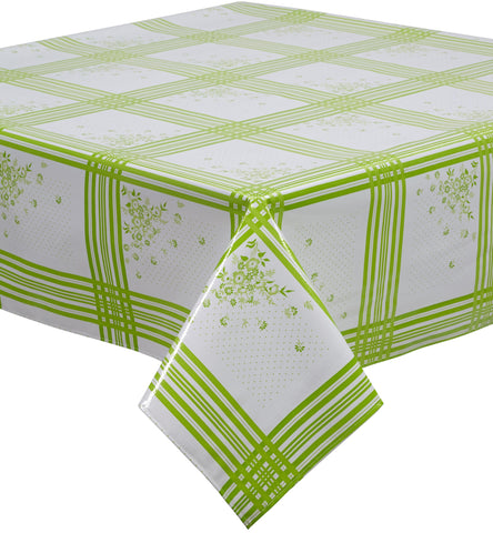 Freckled Sage Oilcloth Tablecloth Corn Flower Lime