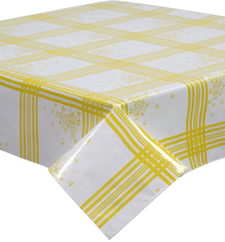 Freckled Sage Oilcloth Tablecloth Corn Flower Yellow