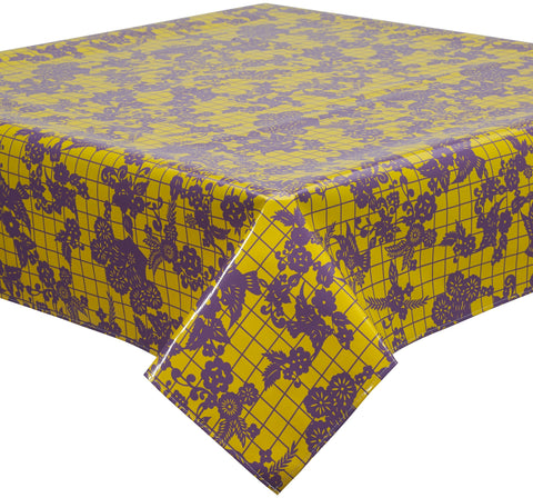 Freckled Sage Oilcloth Tablecloth Day of The Dead Purple on Yellow