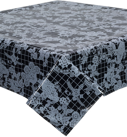 Freckled Sage Oilcloth Tablecloth Day of The Dead White on Black