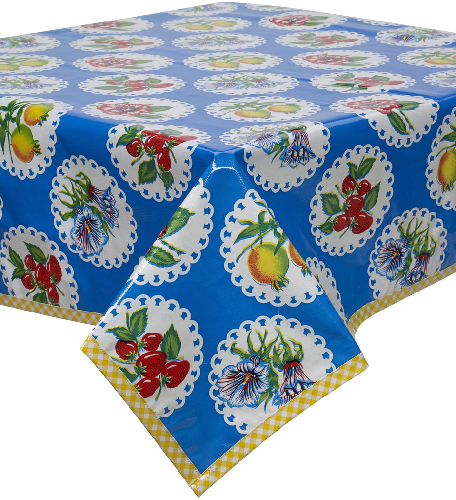 Freckled Sage Oilcloth Tablecloth Doily 2 Blue