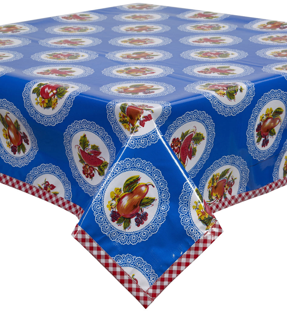 Freckled Sage Oilcloth Tablecloth Doily Blue