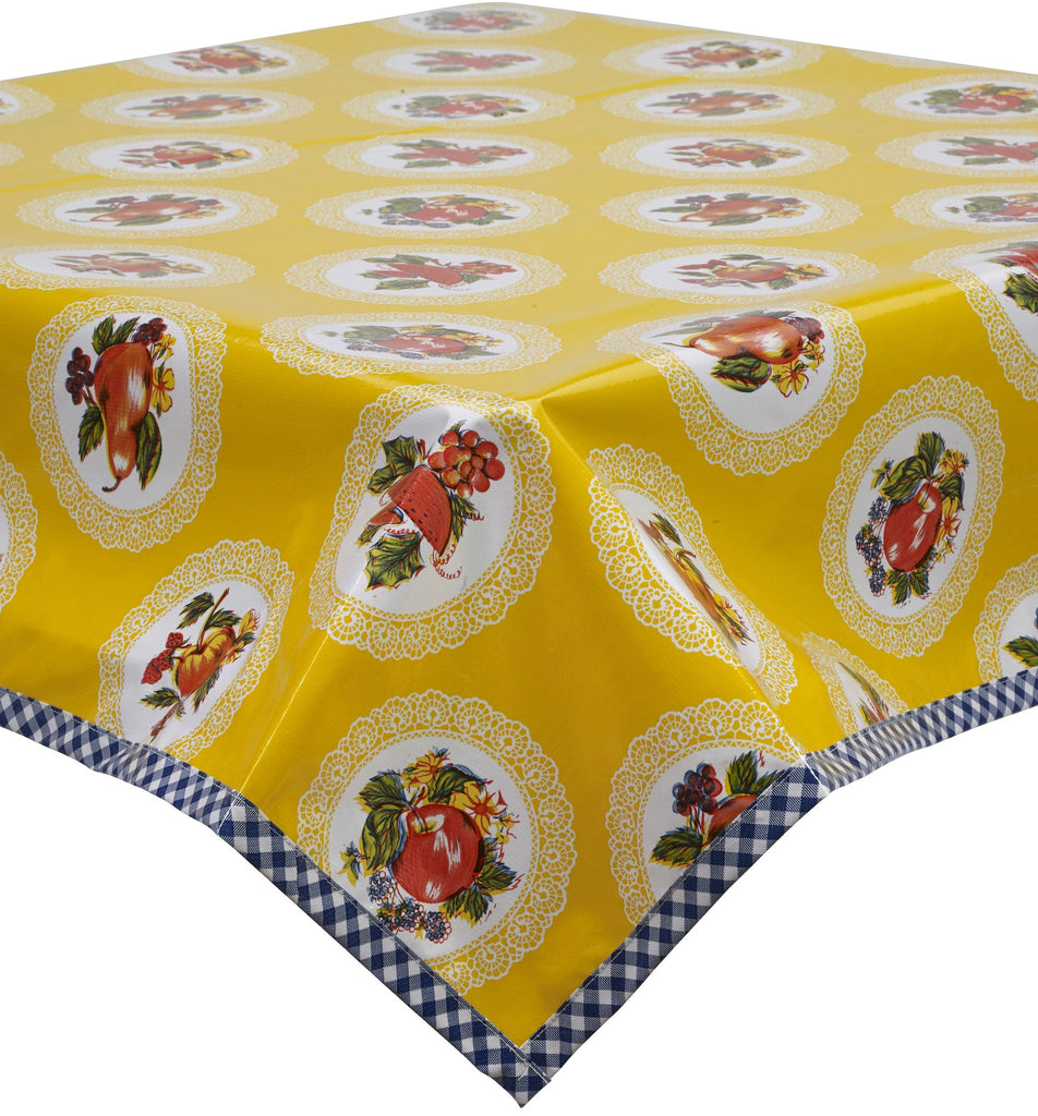 Freckled Sage Oilcloth Tablecloth Doily Yellow