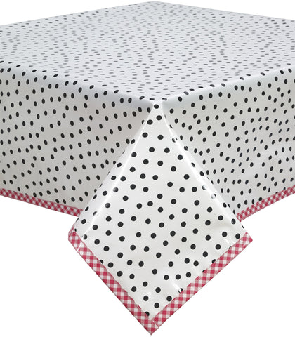 Freckled Sage Oilcloth Tablecloth Dot Black Red Trim