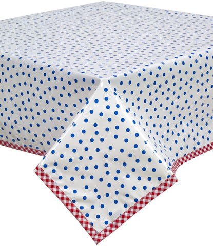 Freckled Sage Oilcloth Tablecloth Dot Blue