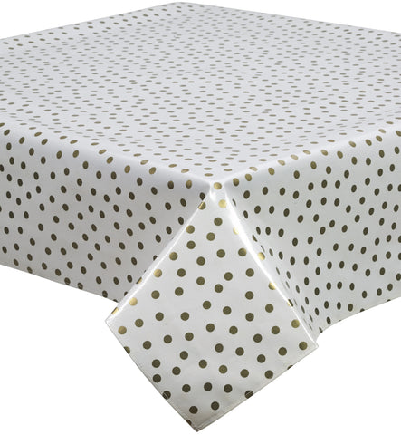 Freckled Sage Oilcloth Tablecloth Dot Gold