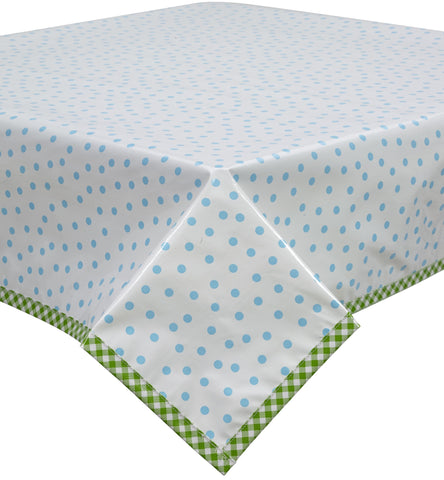 Freckled Sage Oilcloth Tablecloth Dot Light Blue