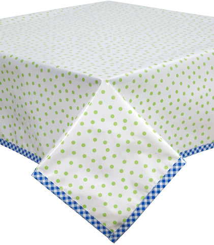 Freckled Sage Oilcloth Tablecloth Dot Lime