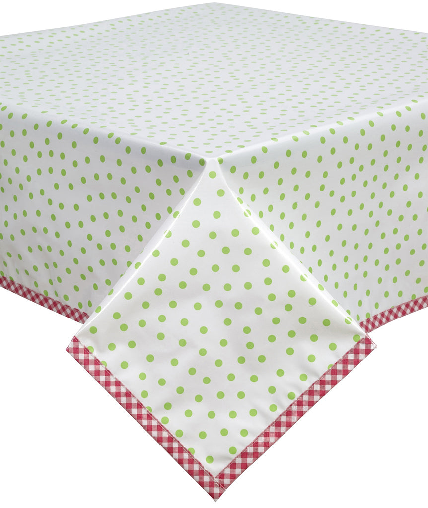 Freckled Sage Oilcloth Tablecloth Dot Lime Pink Trim