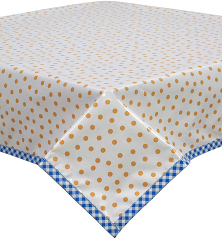 Freckled Sage Oilcloth Tablecloth Dot Orange