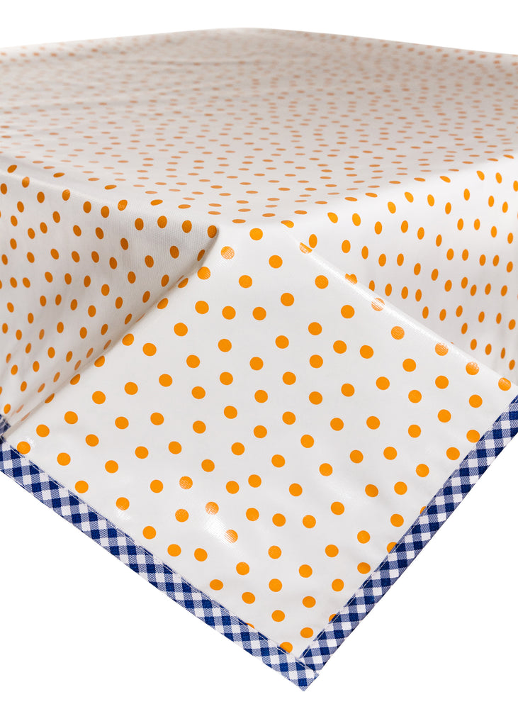 Freckled Sage Oilcloth Tablecloth Dot Orange with Blue Gingham Trim