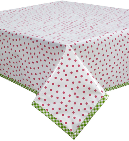 Freckled Sage Oilcloth Tablecloth Dot Pink