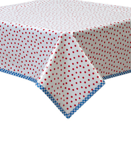 Dot Red Oilcloth Tablecloth with Blue Gingham Trim