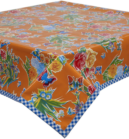 Freckled Sage Oilcloth Tablecloth Edgar's Butterfly Orange