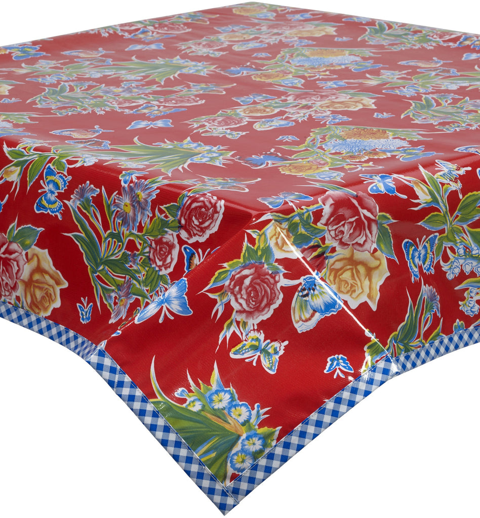 Freckled Sage Oilcloth Tablecloth Edgar's Butterfly Red