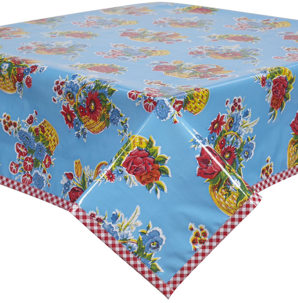 Freckled Sage Oilcloth Tablecloth Flower Basket Light Blue