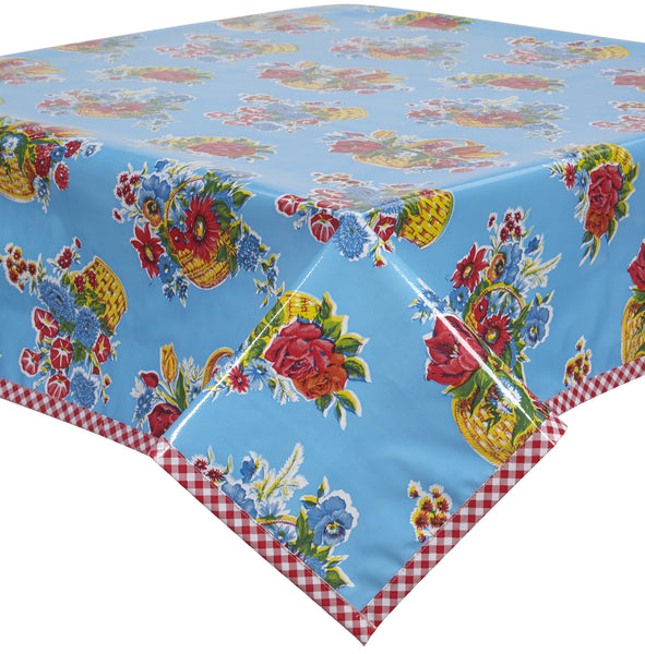 Flower Basket Light Blue Oilcloth Tablecloth With Red