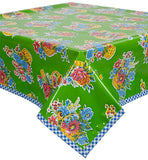 Flower Basket Lime Oilcloth Tablecloth with Blue Gingham Trim