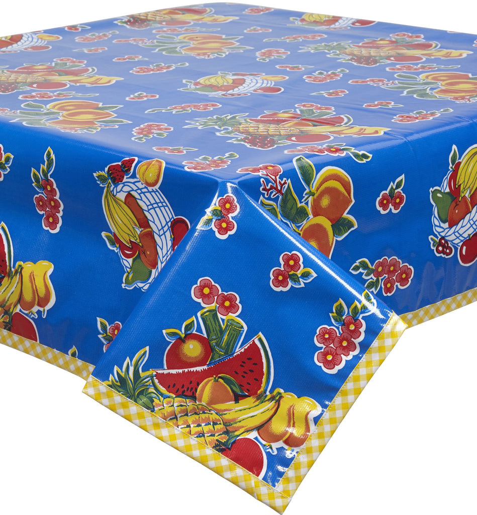 Fruit Basket Blue Oilcloth Tablecloth with Yellow Gingham Trim