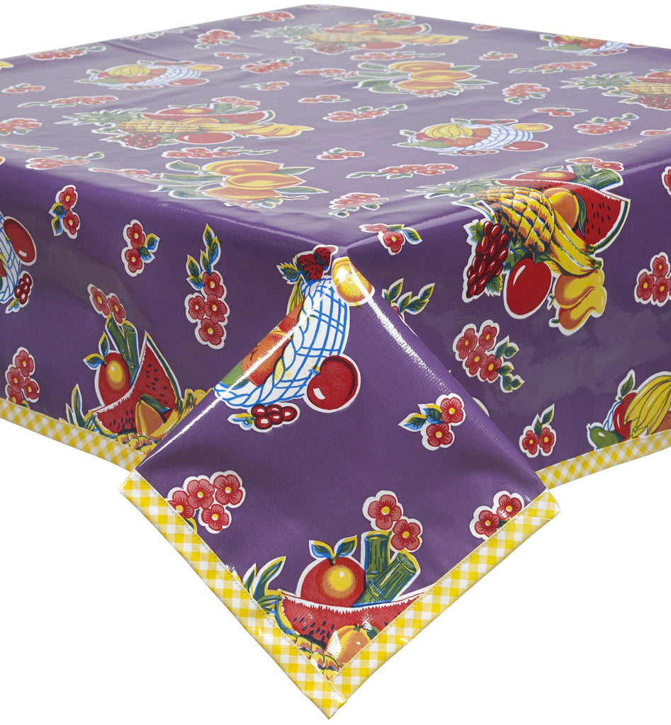 Fruit Basket Purple Oilcloth Tablecloth with Yellow Gingham Trim
