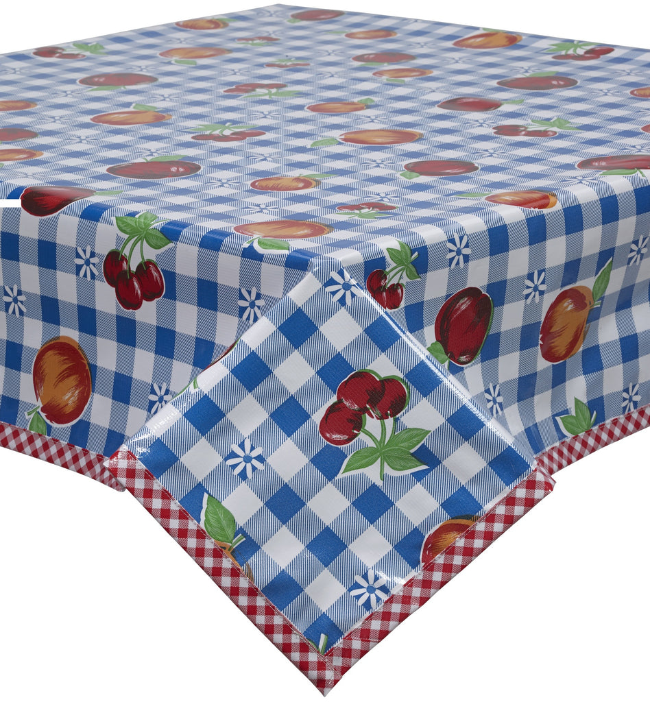 Freckled Sage Oilcloth Tablecloth Fruit and Gingham Blue