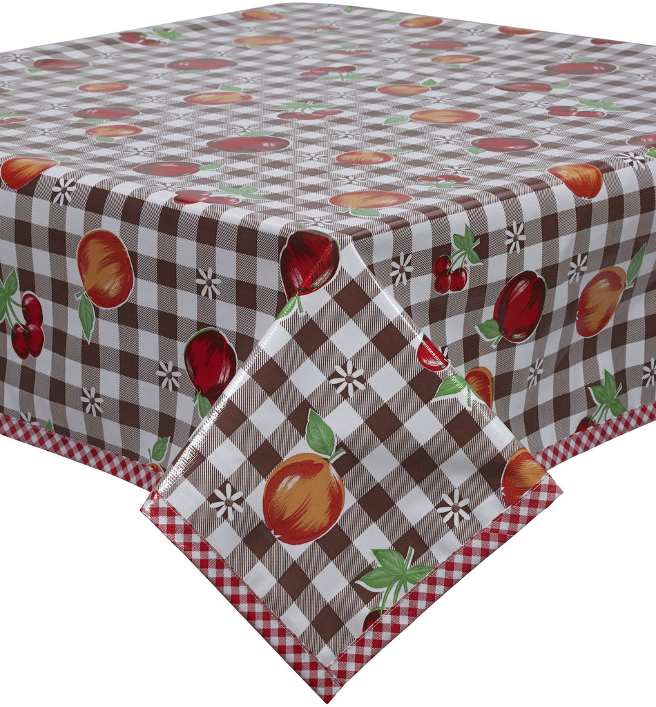 Freckled Sage Oilcloth Tablecloth Gingham and Fruit Brown
