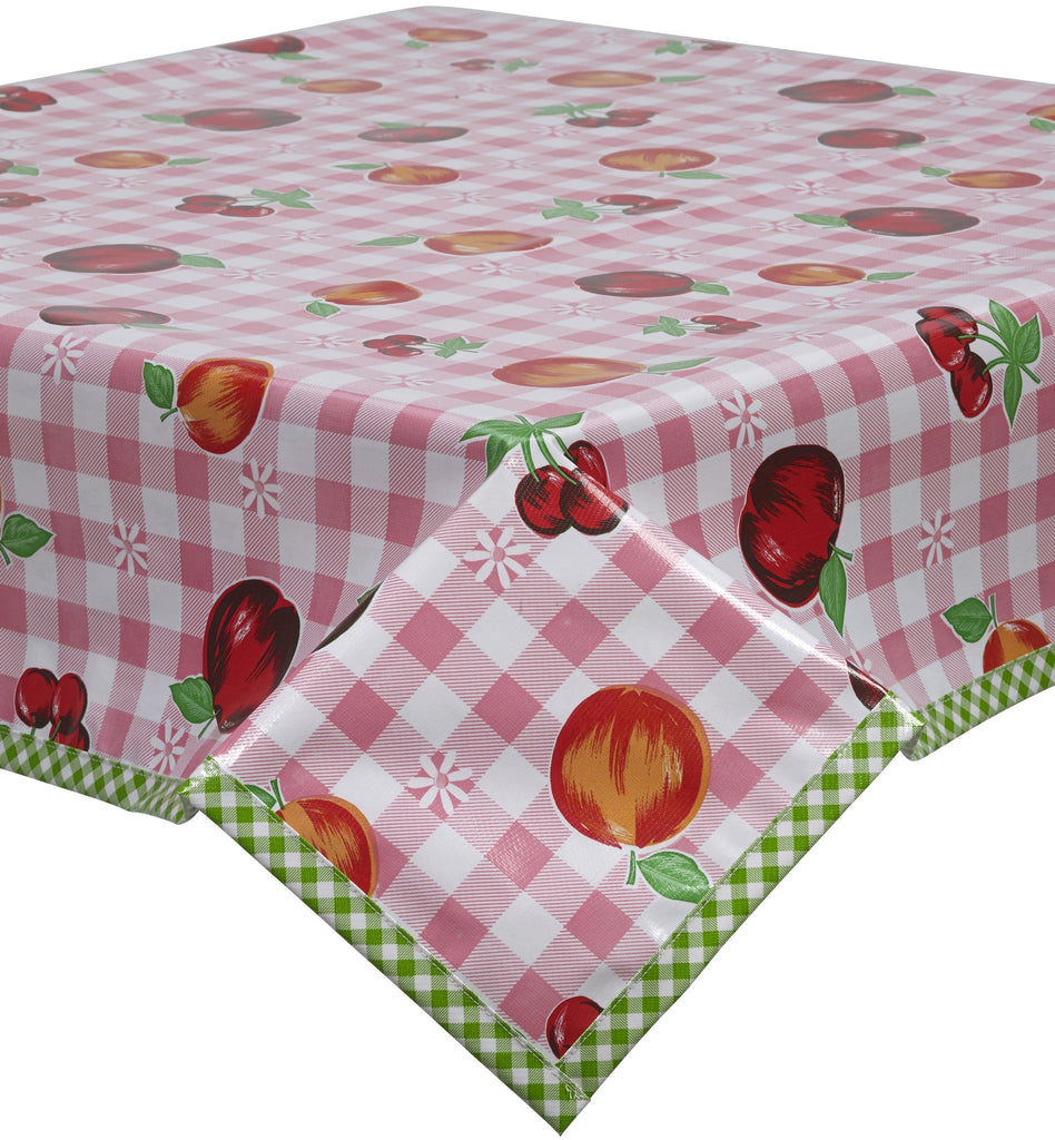 Freckled Sage Oilcloth Tablecloths in Fruit and Gingham Pink