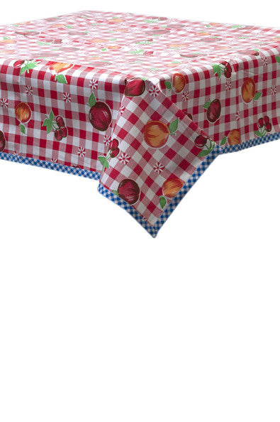 Freckled Sage Oilcloth Tablecloth Fruit and gingham red