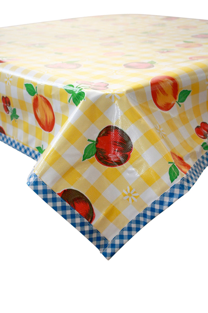 Fruit and Gingham Yellow Oilcloth Tablecloth with Blue Gingham Trim