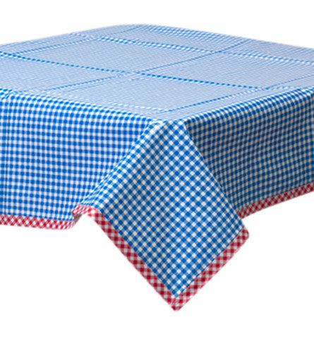 Freckled Sage Oilcloth Tablecloth Gingham Blue
