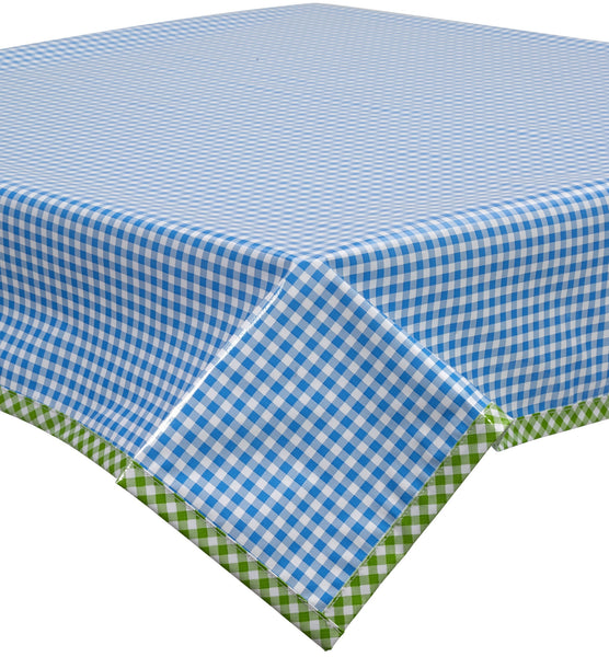 Gingham Light Blue Oilcloth Tablecloth With Lime Gingham