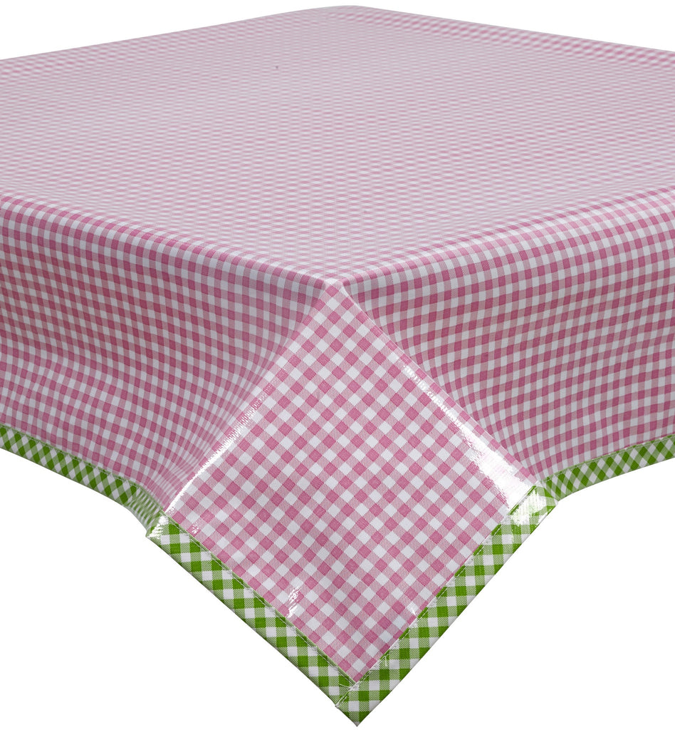 Freckled Sage Oilcloth Tablecloth Pink Gingham