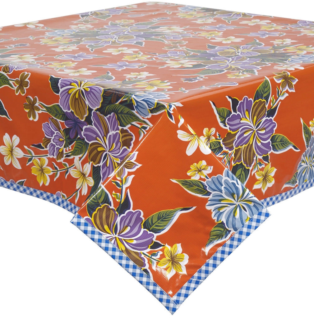 Freckled Sage Oilcloth Tablecloth Orange Hawaii