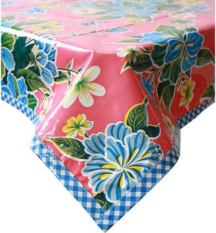 Hawaii Pink Oilcloth Tablecloth with Light Blue Gingham Trim