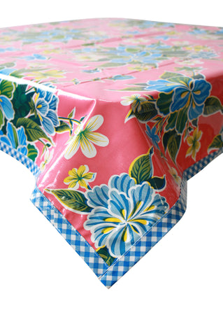 Freckled Sage Oilcloth Tablecloth Hawaii Pink