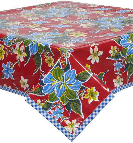 Freckled Sage Oilcloth Tablecloth Red Hawaii