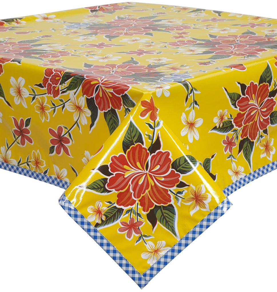 Freckled Sage. Hawaii Yellow Oilcloth Tablecloth With Blue ...