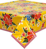 Hawaii Yellow Oilcloth Tablecloth with Red Gingham Trim You Pick the Size